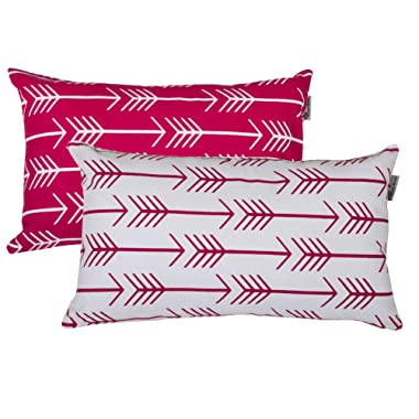 Accent Home Printed Cotton Cushion Cover,Throw Pillow Case, Slipover Pillowslip For Home Sofa Couch Chair Back Seat,2pc pack 12 x20  ARROW design in Fuschia color