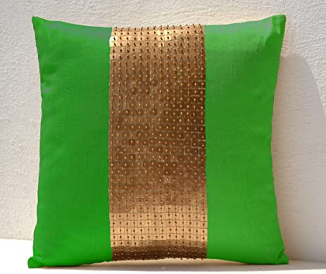 Amore beaute handmade throw pillows covers neon green gold color block in dupioni art silk
