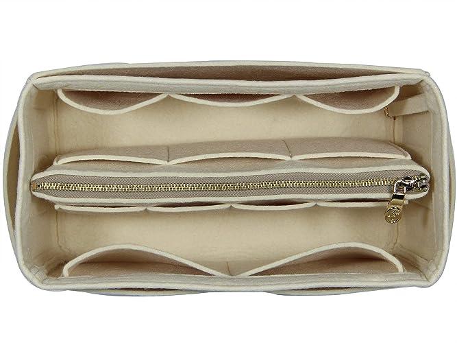 25a678046 Amazon.com: [Fits Neverfull MM/Speedy 30, Beige] Purse Insert (3mm Felt,  Detachable Pouch w/Metal Zip) Felt Tote Bag Organize: Handmade