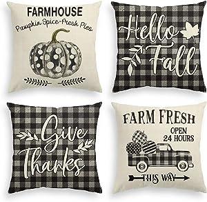 AVOIN Fall Quote Polka Dot Pumpkin Buffalo Check Plaid Truck Throw Pillow Cover Hello Fall, 18 x 18 Inch Autumn Give Thanks Farmhouse Cushion Case for Sofa Couch Set of 4
