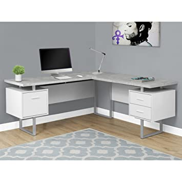 Amazoncom Monarch Specialties Computer Desk 60 L WhiteCement