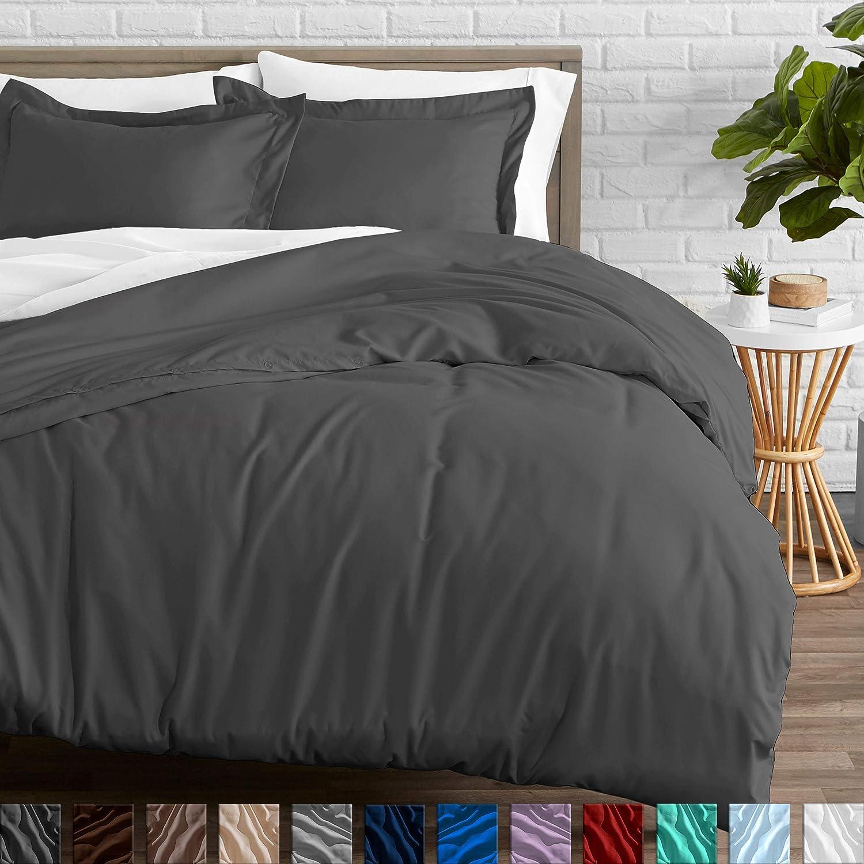 Bare Home Duvet Cover and Sham Set - King - Premium 1800 Ultra-Soft Brushed Microfiber - Hypoallergenic, Easy Care, Wrinkle Resistant (King, Grey)