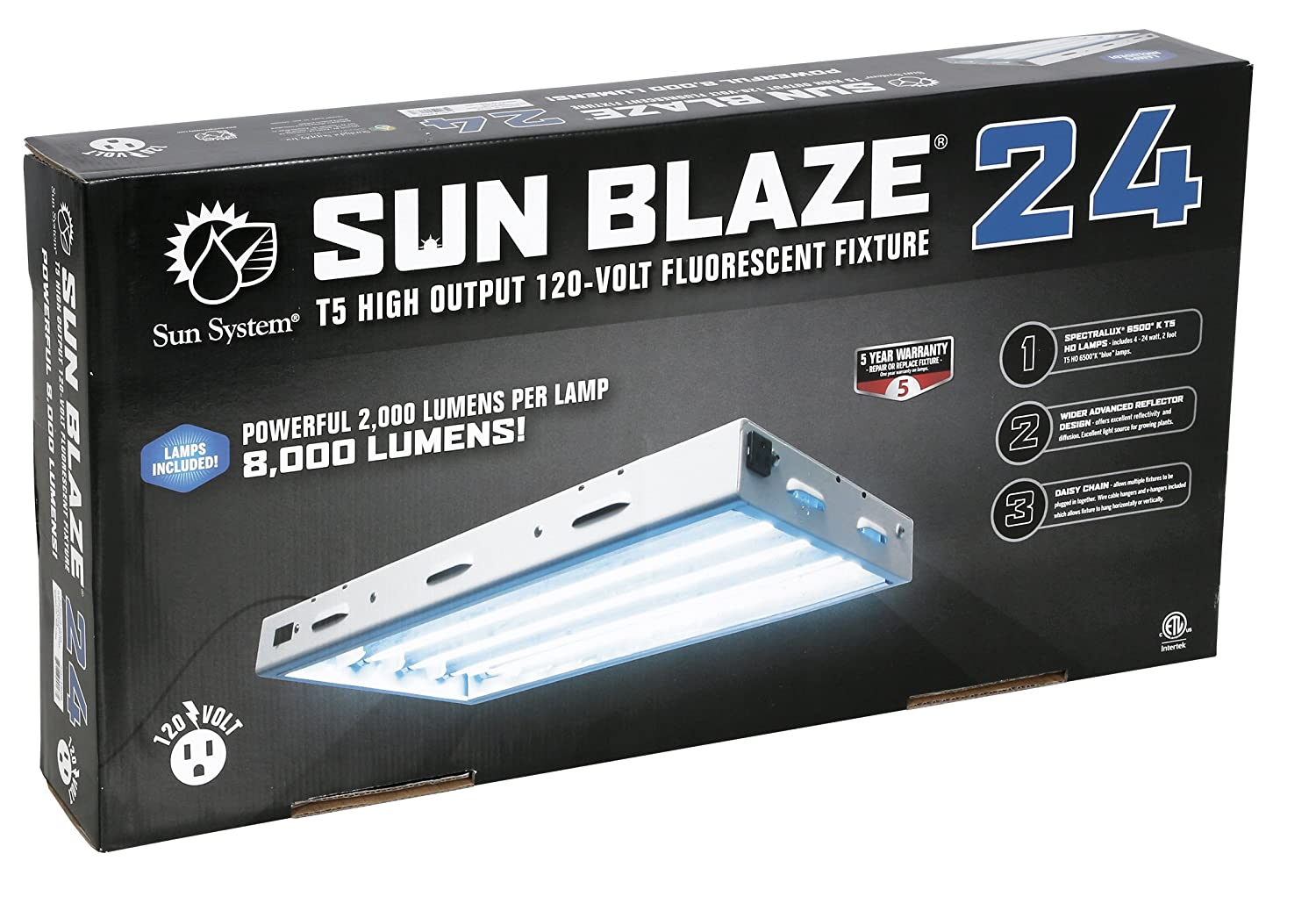 Com Sun Blaze T5 Fluorescent 2 Ft Fixture 4 Lamp 120v Indoor Grow Light For Hydroponic And Greenhouse Use Garden Outdoor