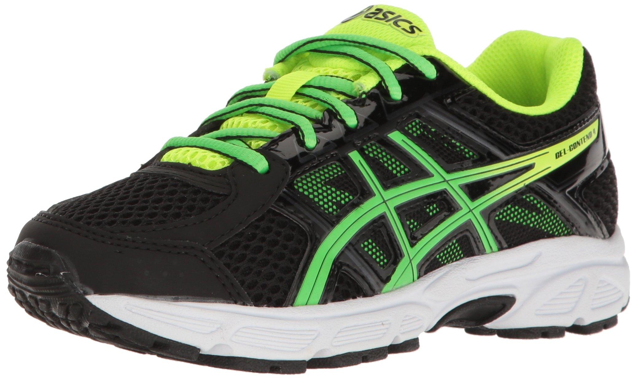 ASICS Boys' Gel-Contend 4 GS Running Shoe, Black/Green Gecko/Safety Yellow, 4.5 M US Big Kid