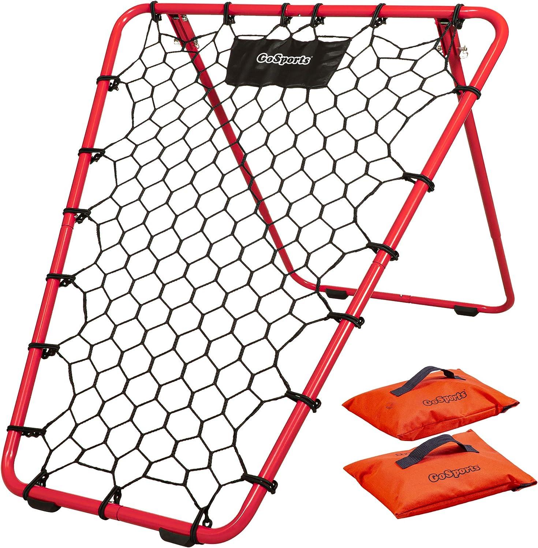 GoSports Basketball Rebounder with Adjustable Frame, Rubber Grip Feet and Sandbags, Portable Pass Back Training Aid - 5 Min Setup
