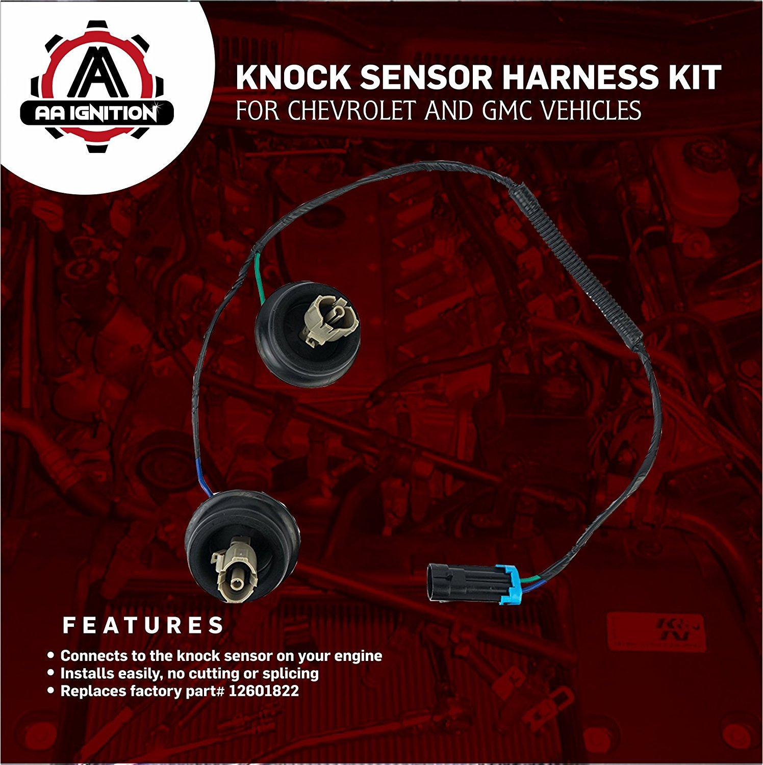 Knock Sensor Wire Harness Kit Replaces 12601822 917 033 Fits Wiring 2003 Gmc Sierra Chevy Suburban