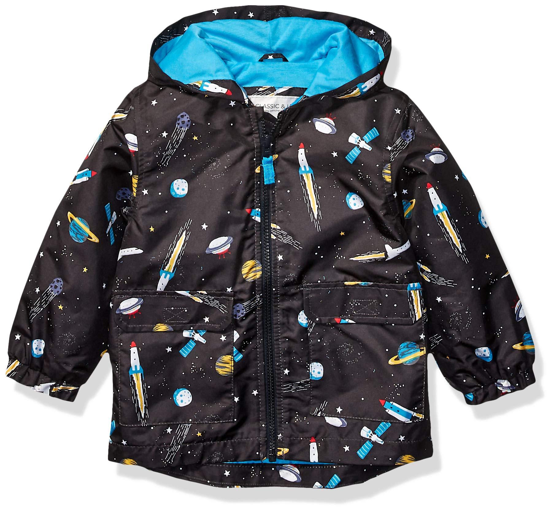 Carter's Boys' Toddler Favorite Rainslicker Rain Jacket, Space Ship Black, 4T by Carter's