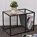 Tangkula Metal End Table Modern Home Furniture Snack Side Table w/ Magazine Holder