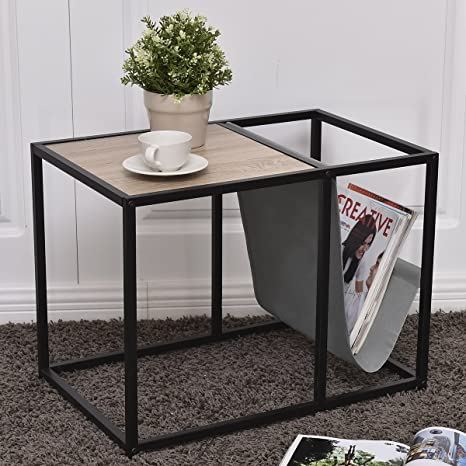Tangkula Metal End Table Modern Unique Design Home Office Furniture Loft  Style Snack Side Table With