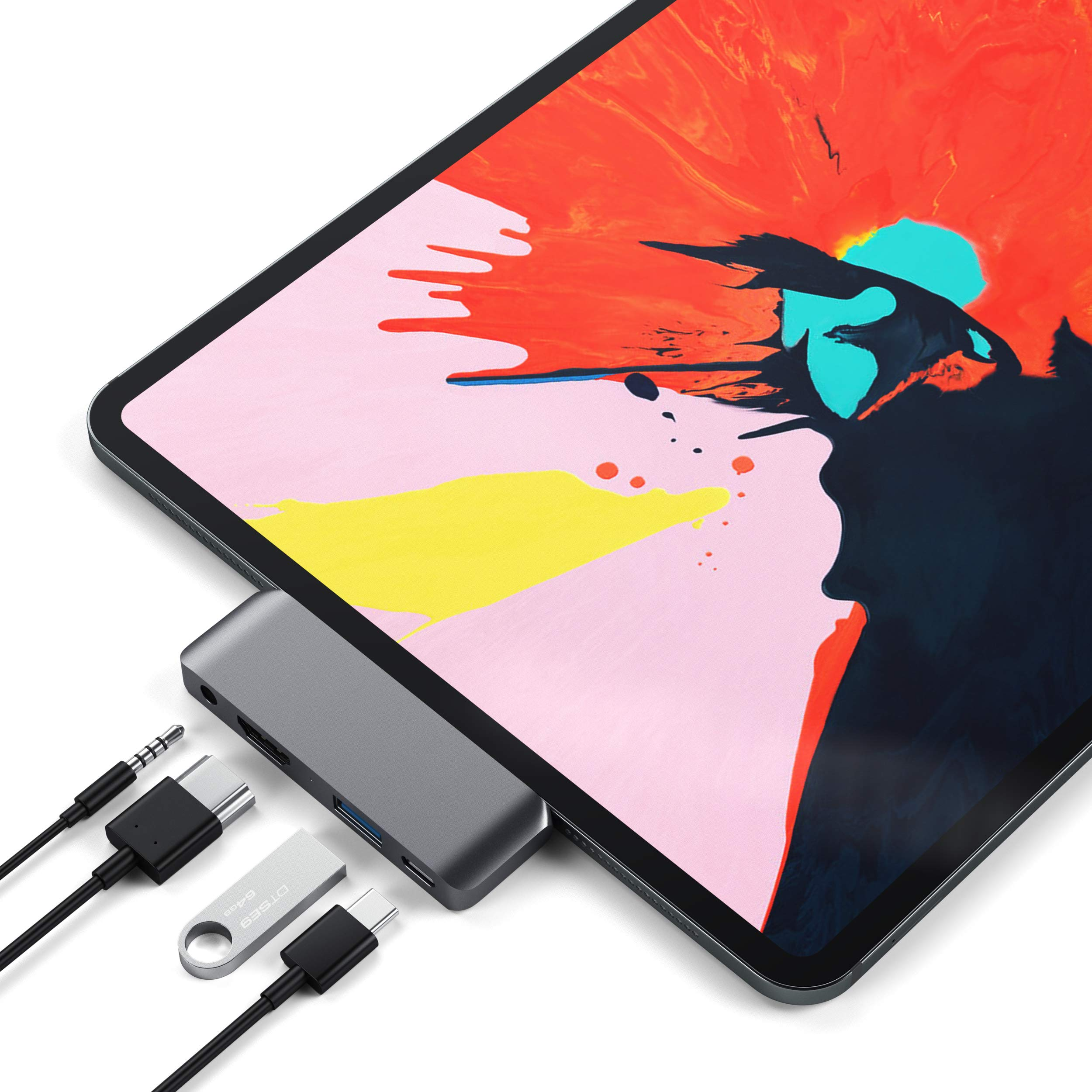 Satechi Aluminum Type-C Mobile Pro Hub Adapter with USB-C PD Charging, 4K HDMI, USB 3.0 & 3.5mm Headphone Jack - Compatible with 2018 iPad Pro, Microsoft Surface Go and More (Space Gray)
