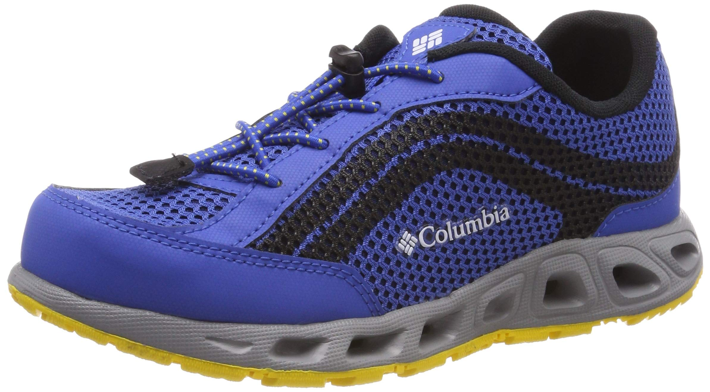 Columbia Unisex Youth Drainmaker IV Water Shoe, Stormy Blue, deep Yellow, 5 Regular US Big Kid