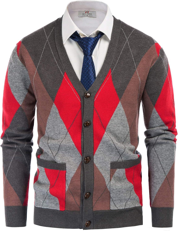 1960s Mens Shirts | 60s Mod Shirts, Hippie Shirts PJ PAUL JONES Mens V Neck Argyle Cardigan Sweater Contrast Knitwear with Pockets  AT vintagedancer.com