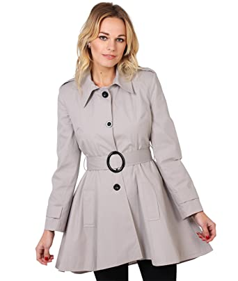 huge discount 409f1 b0f74 KRISP Damen Trenchcoat Mantel Lange Ausgestellte Jacke