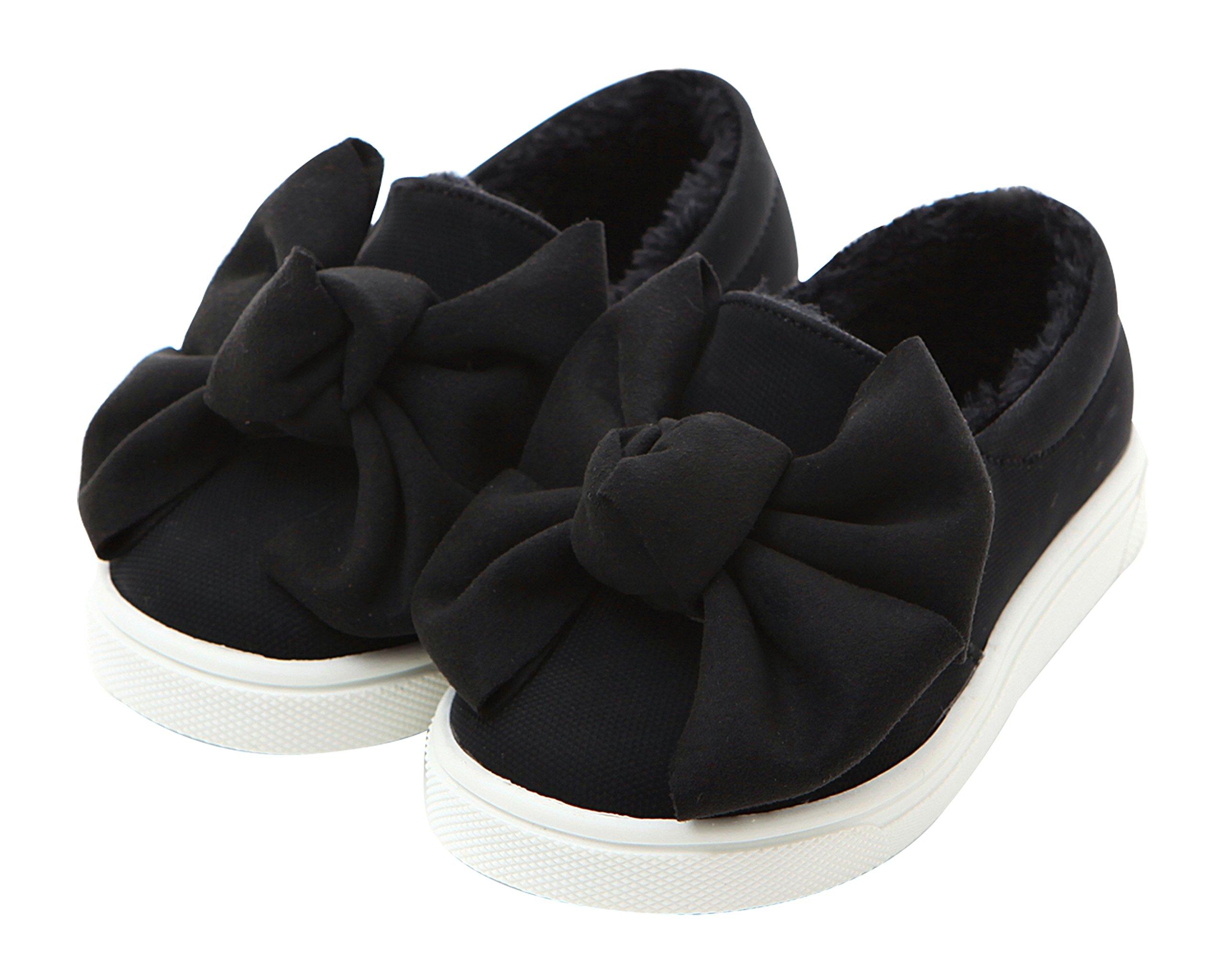 Ozkiz Little Girl's Winter Ankle Boots Warm Leather Snow Booties Slip On Sneaker Shoes BK 1M