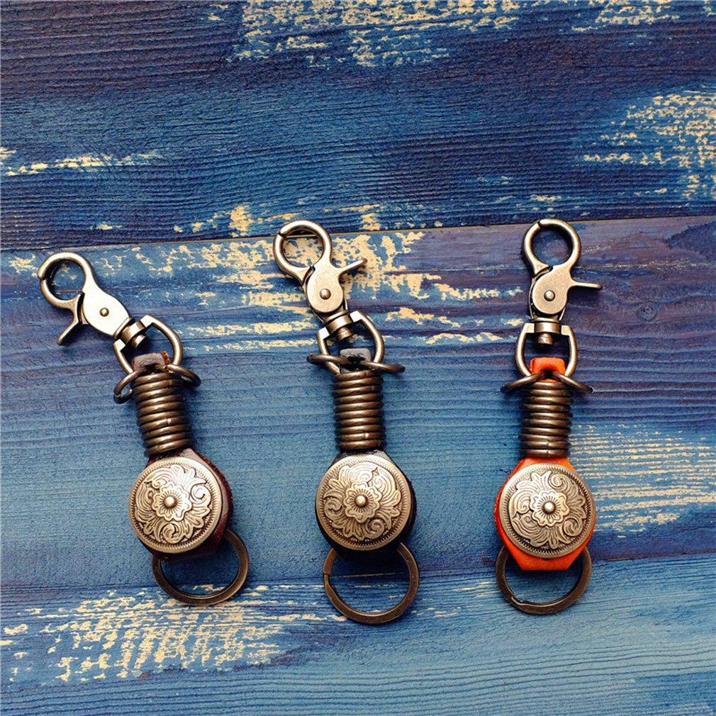 BESYL Retro Handmade Leather Women Keychain Duty Car Key Chain for Men and Women Women Backpack Pendant