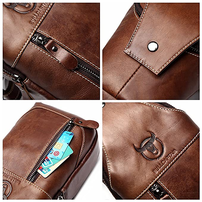 Amazon.com: CHARMINER Men Sling Bag, Genuine Leather Chest Shoulder Messenger Bag Casual Crossbody Bag Daypacks Brown M: Sports & Outdoors