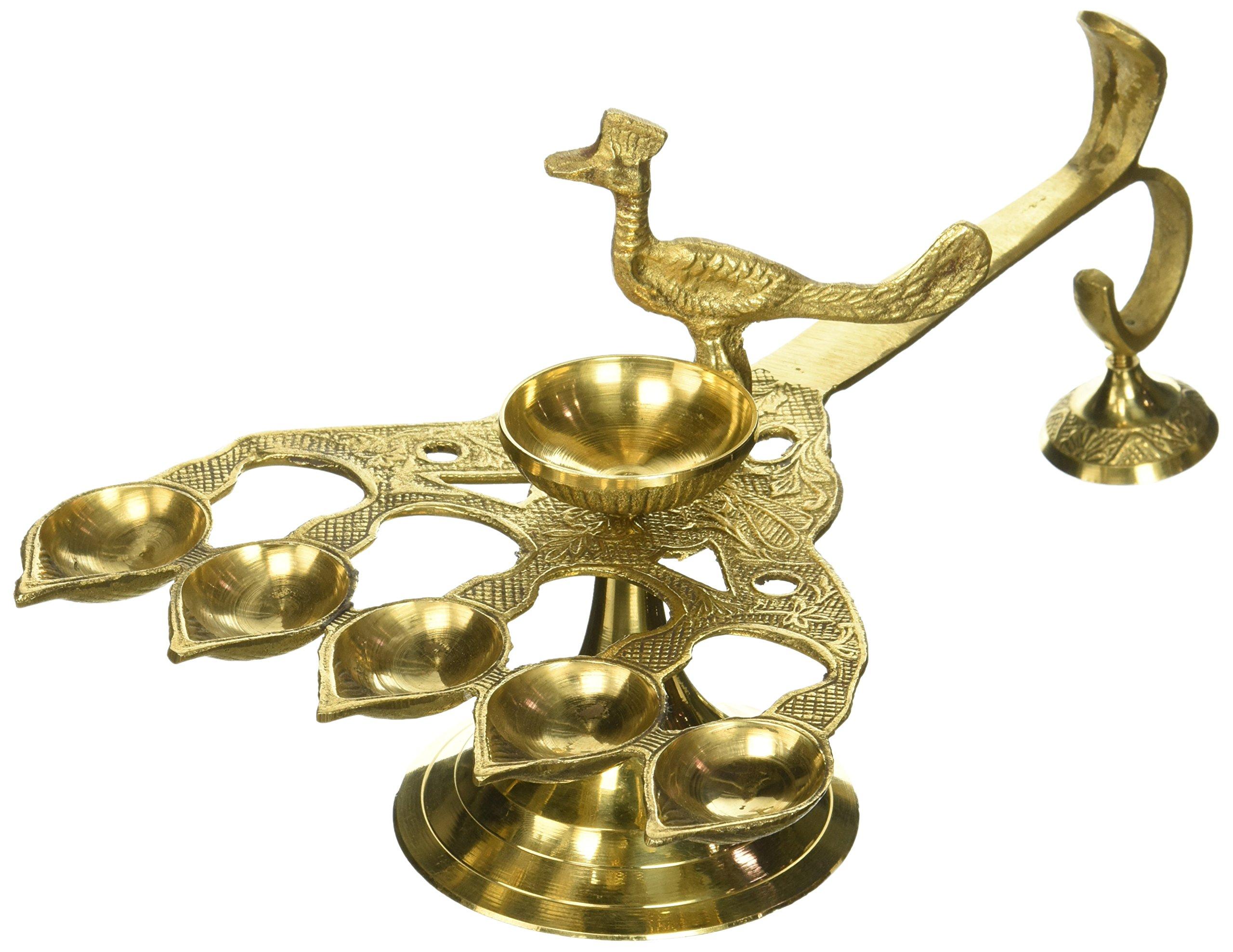 Hand-held Peacock Panch Diya - Brass