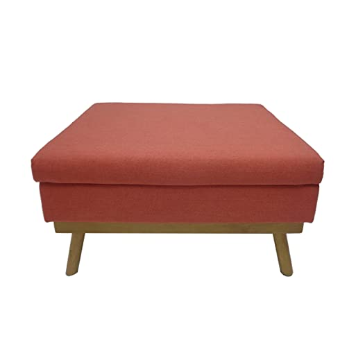 Christopher Knight Home Beryl Mid Century Fabric Ottoman in Coral, Natural