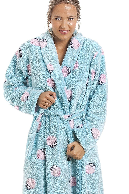 Camille Womens Ladies Supersoft Fleece Aqua Blue Cupcake Bathrobe at ...