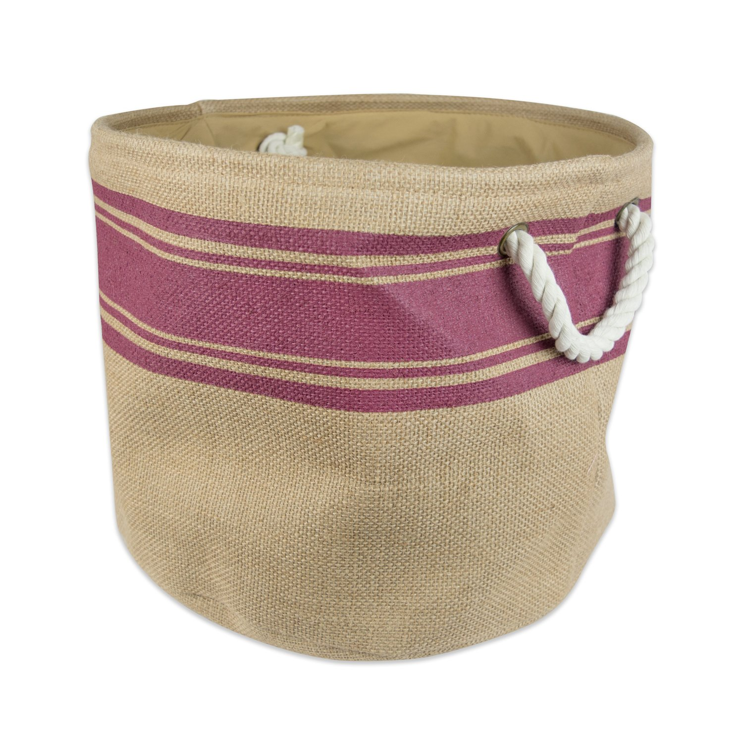 """DII Collapsible Burlap Storage Basket or Bin with Durable Cotton Handles, Home Organizational Solution for Office, Bedroom, Closet, Toys, & Laundry (Large Round – 16x15""""), Wine Border by DII (Image #1)"""