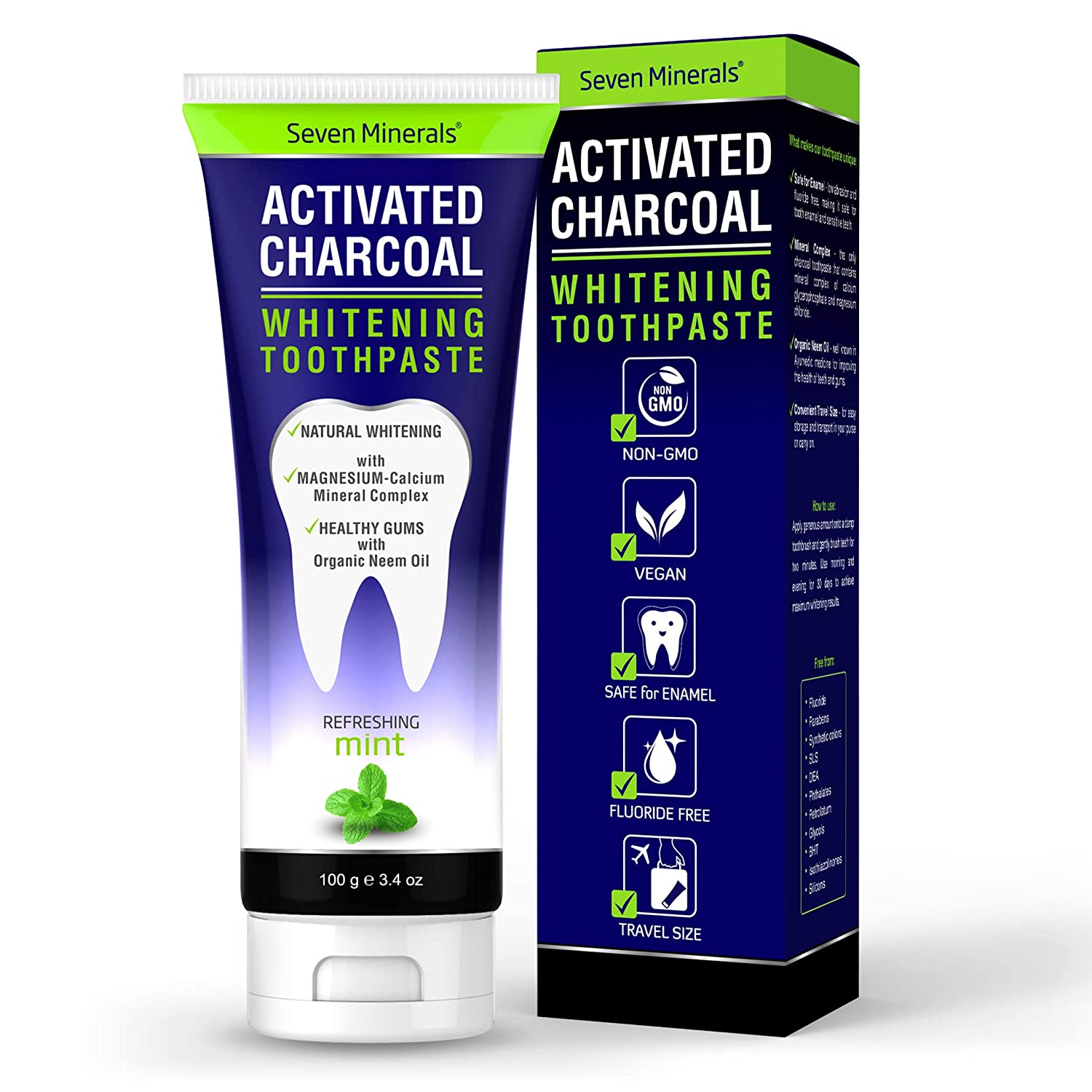 Seven Minerals #1 Remineralizing Activated Charcoal Toothpaste