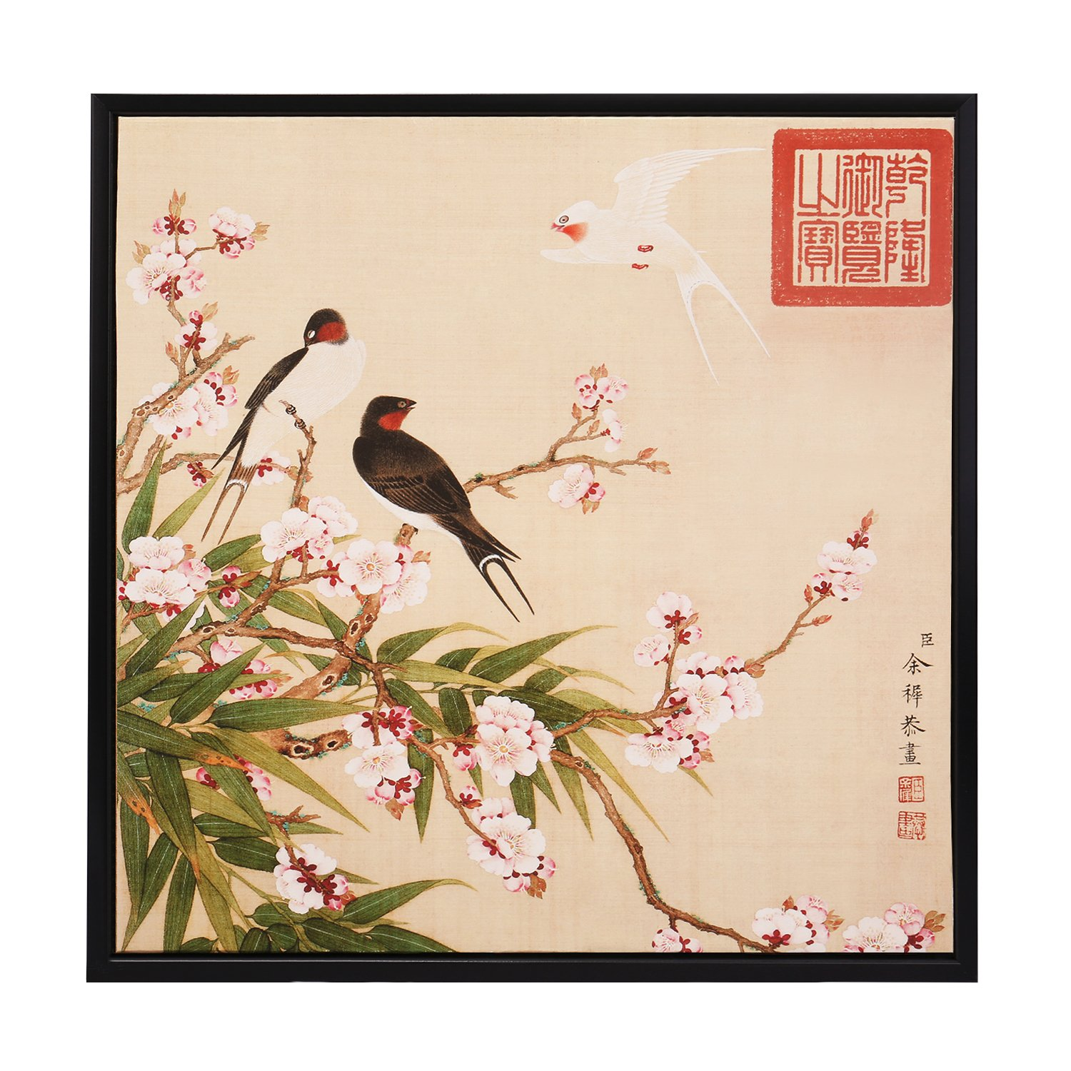 INK WASH Framed Fine Art Reproduction Ancient Chinese Painting Asian Decor  Wall Art Red Plum Blossom Birds and Flower Paintings Antique Art for Wall