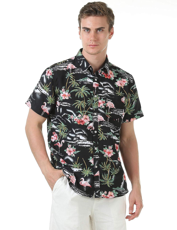 Leisurely Pace Mens Hawaiian Aloha Shirt Short Sleeve Tropical Floral Print Button Down Shirt