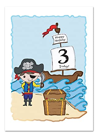 3rdthird Birthday Greeting Card Childskids Pirate Birthday Card