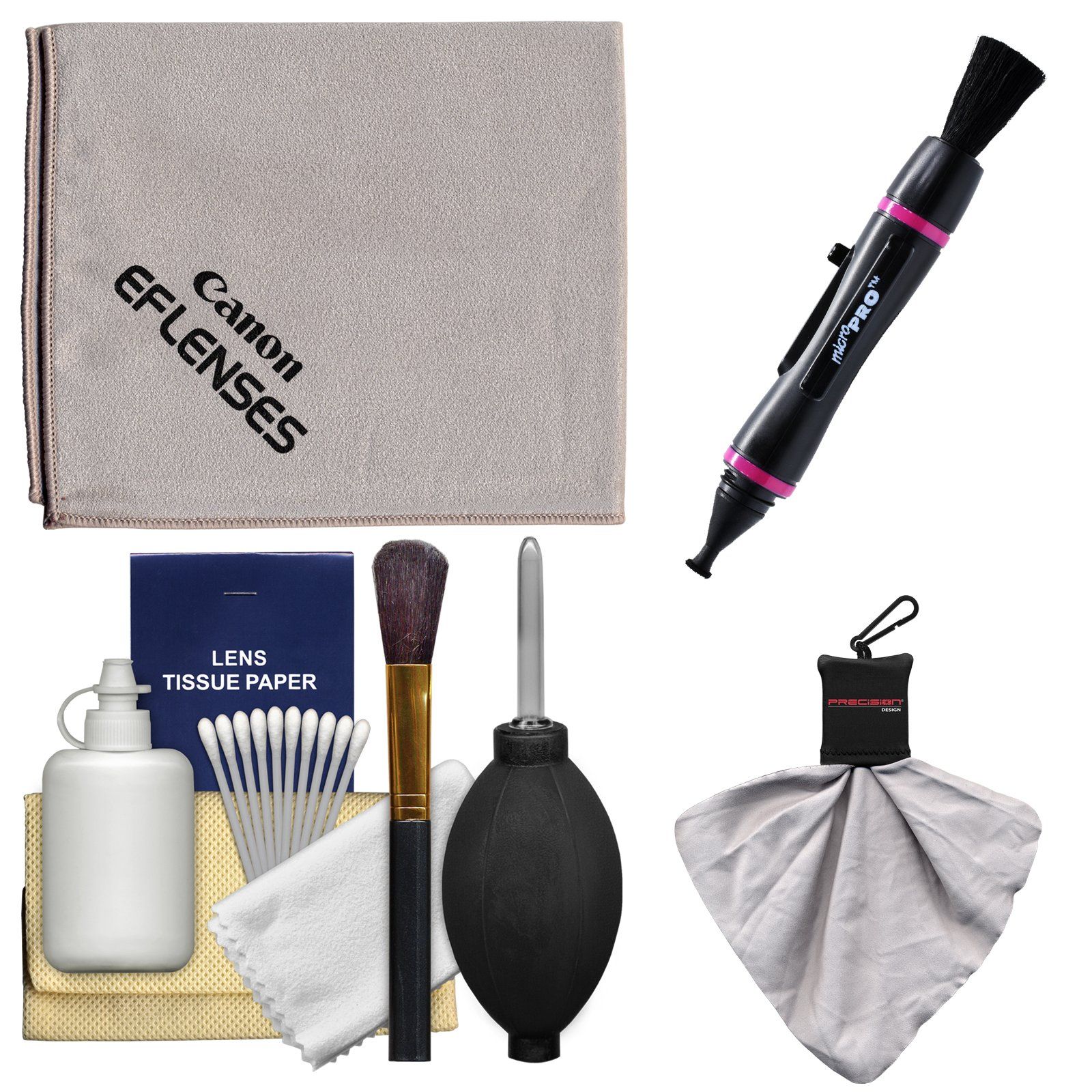 Canon Optical Digital Camera & Lens Cleaning Kit with Brush, Microfiber Cloth, Fluid & Tissue + Spudz Cloth + MicroPro Lenspen for Powershot SX50 & SX60 HS, G15, G16 & G1 G3 G7 X
