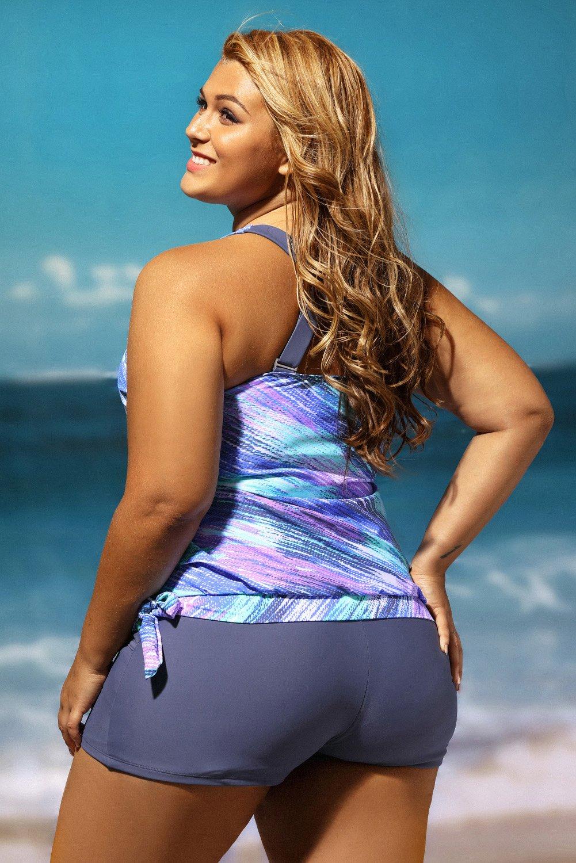 cc204d69c8f Gloria Sarah Women Stripes Print Blouson Tankini Set Two Piece Swimsuit