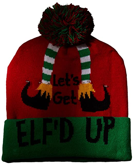 9e7de74565577 Wembley Men s Holiday Christmas Light up Or Sound Beanie Hat with Pompom