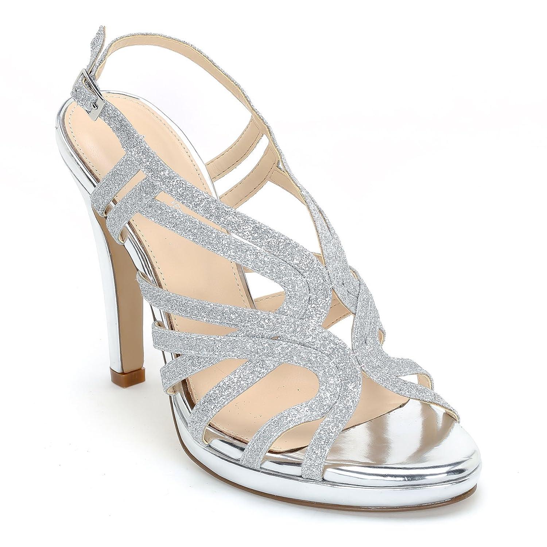 Alesya Scarpe&Scarpe - Sandali Alti in Glitter, con Tacco 12 cm  Argento