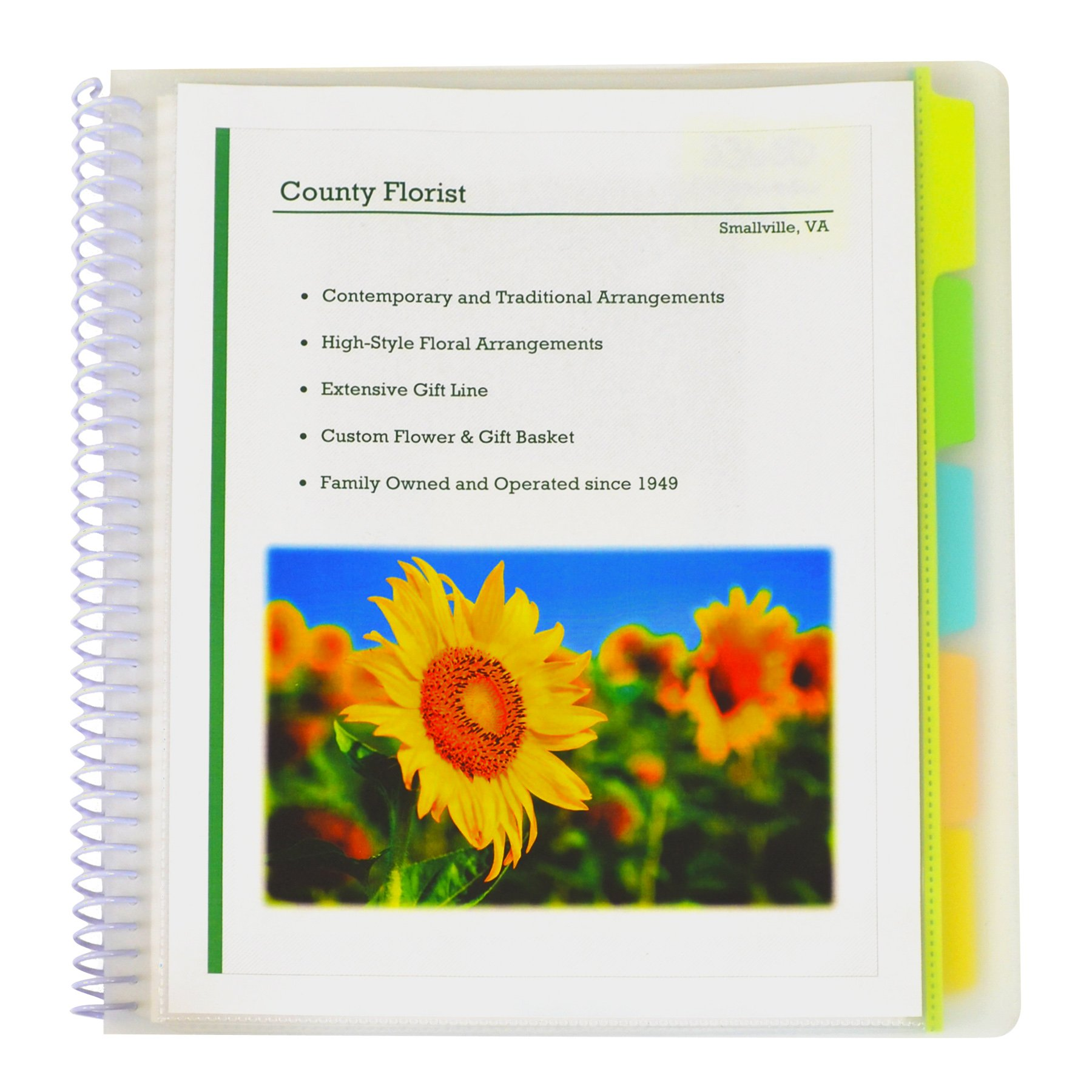C-Line 10-Pocket Poly Portfolio with Write-on Tabs, Spiral-Bound, 5-Tab, Clear with Assorted Color Tabs, Box of 12 Portfolios (33650-12)