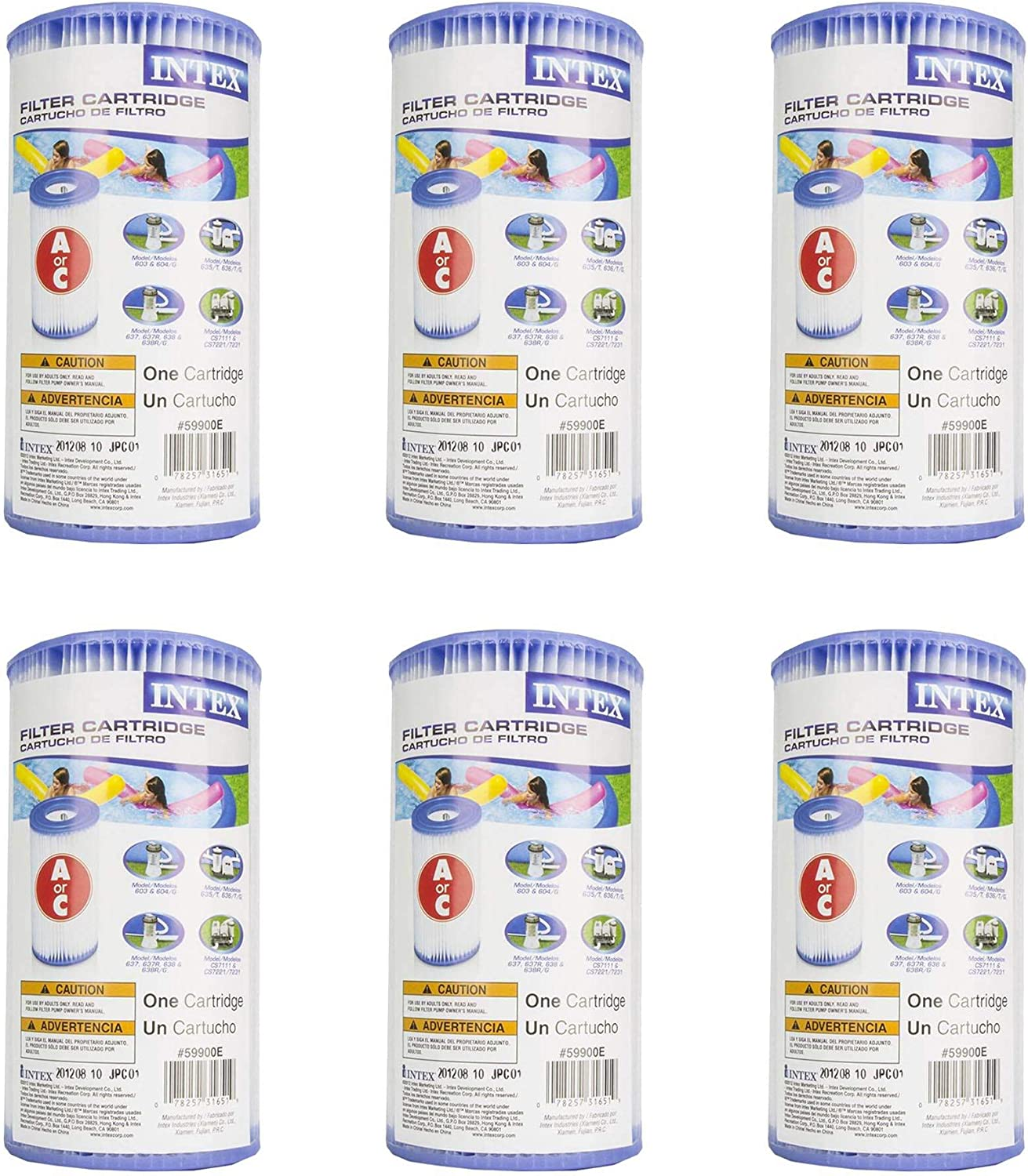 Intex 29000E/59900E Easy Set Pool Replacement Type A/C Filter Cartridge – 6 Pack
