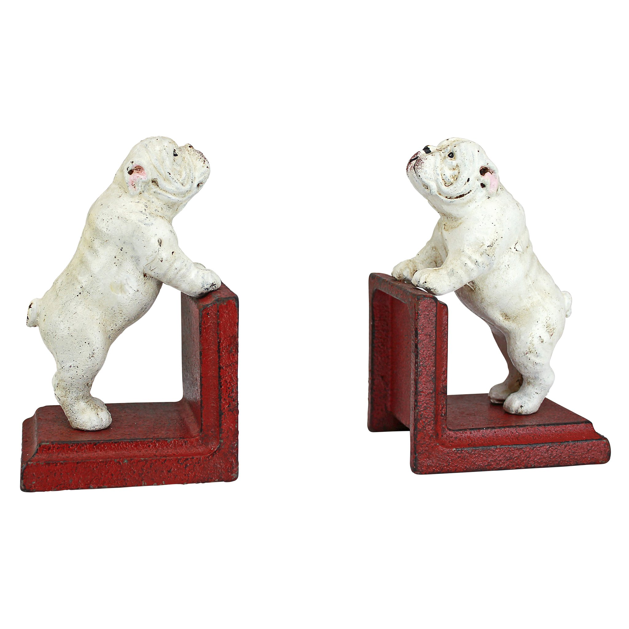 Design Toscano Over The Over The Fence Bulldog Cast Iron Sculptural Bookend Pair, Full Color