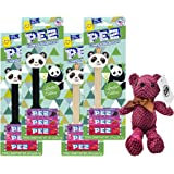 Pez Limited Edition Panda and Panda with Crown Bundle (Pack of 4) with By The Cup Teddy Bear