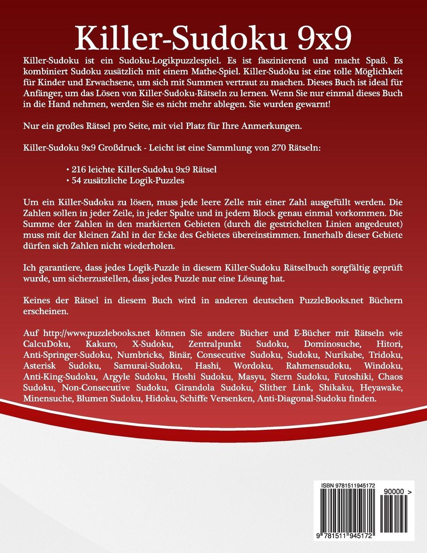 Killer-Sudoku 9x9 Großdruck - Leicht - Band 25-270 Rätsel: Amazon.de ...