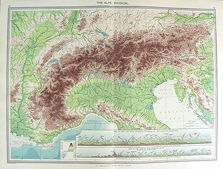 HARMSWORTH PHYSICAL MAP ALPS 1906 MOUNTAINS GENEVA: Amazon.co.uk ...