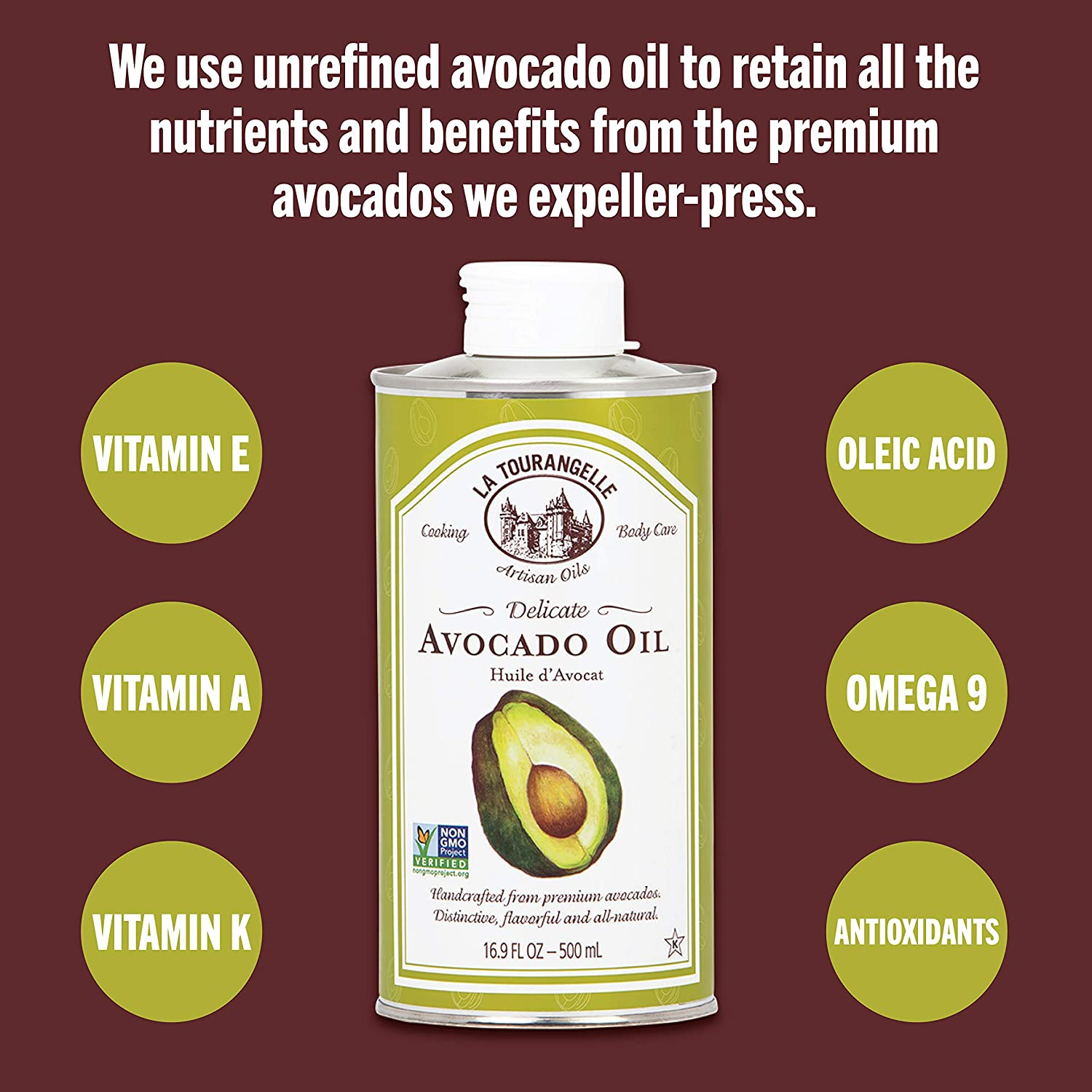 Avocado Oil 16.9 Fl Oz, All-Natural, Artisanal, Great for Salads, Fruit, Fish or Vegetables, Buttery Flavor