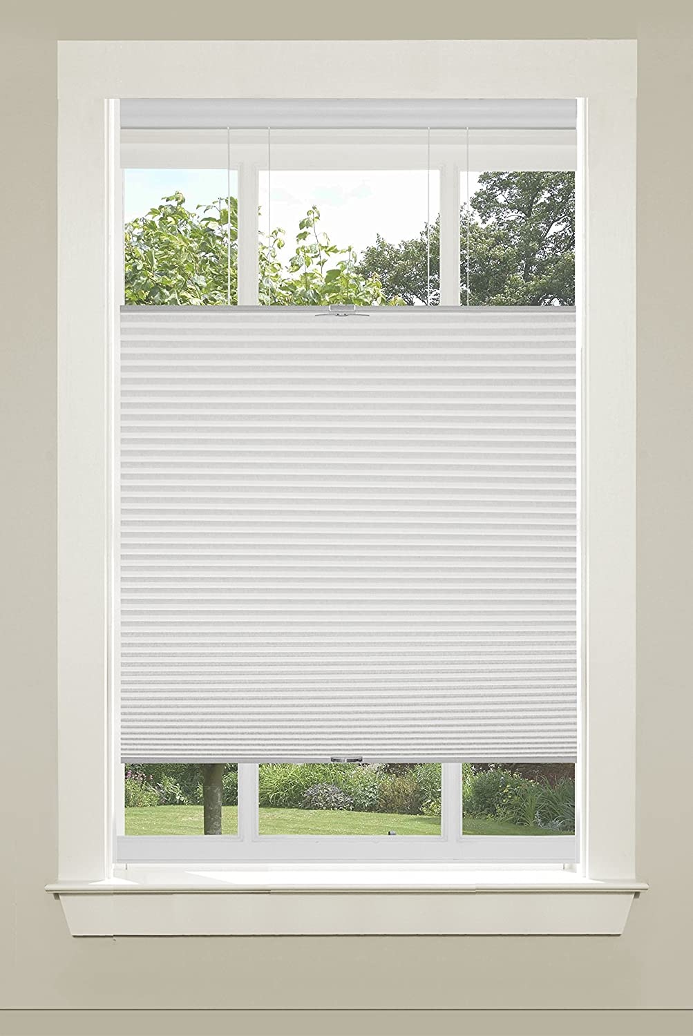 "Achim Home Furnishings Top-Down Cordless Honeycomb Cellular Pleated Shade, 39 by 64"", White"