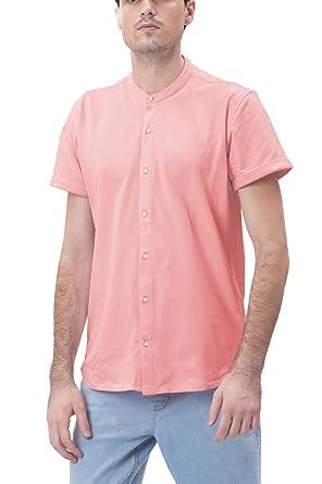 2dbd2aad Bewakoof Men's Mandarin Collar Pique Shirt: Amazon.in: Clothing ...