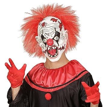 Máscara bufón loco Careta terrorífica de payaso con pelo Mascarilla látex IT Complemento disfraz de miedo
