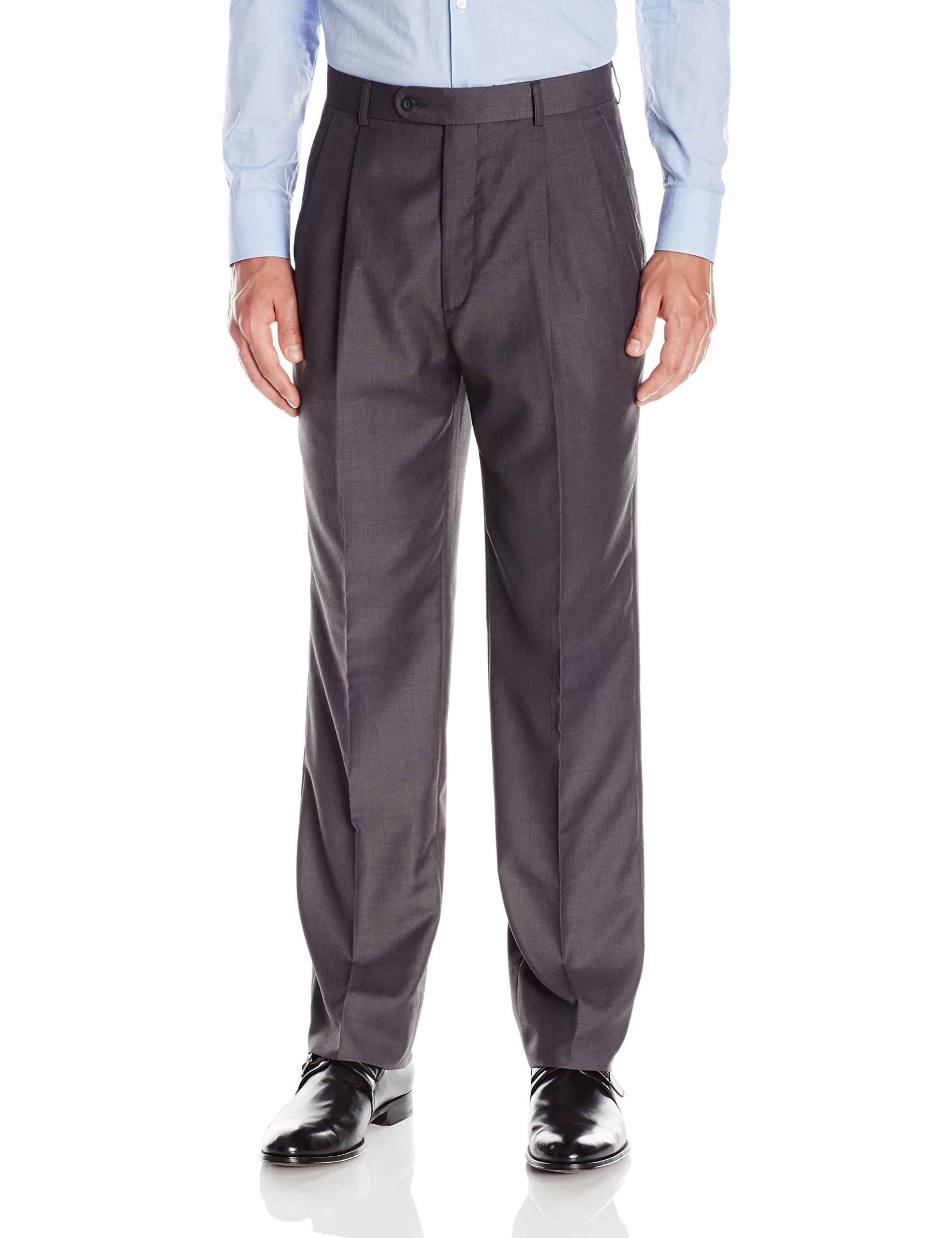 Linea Naturale Men's Pleated Travel Genius Microfiber Trouser, Light Grey, 38W