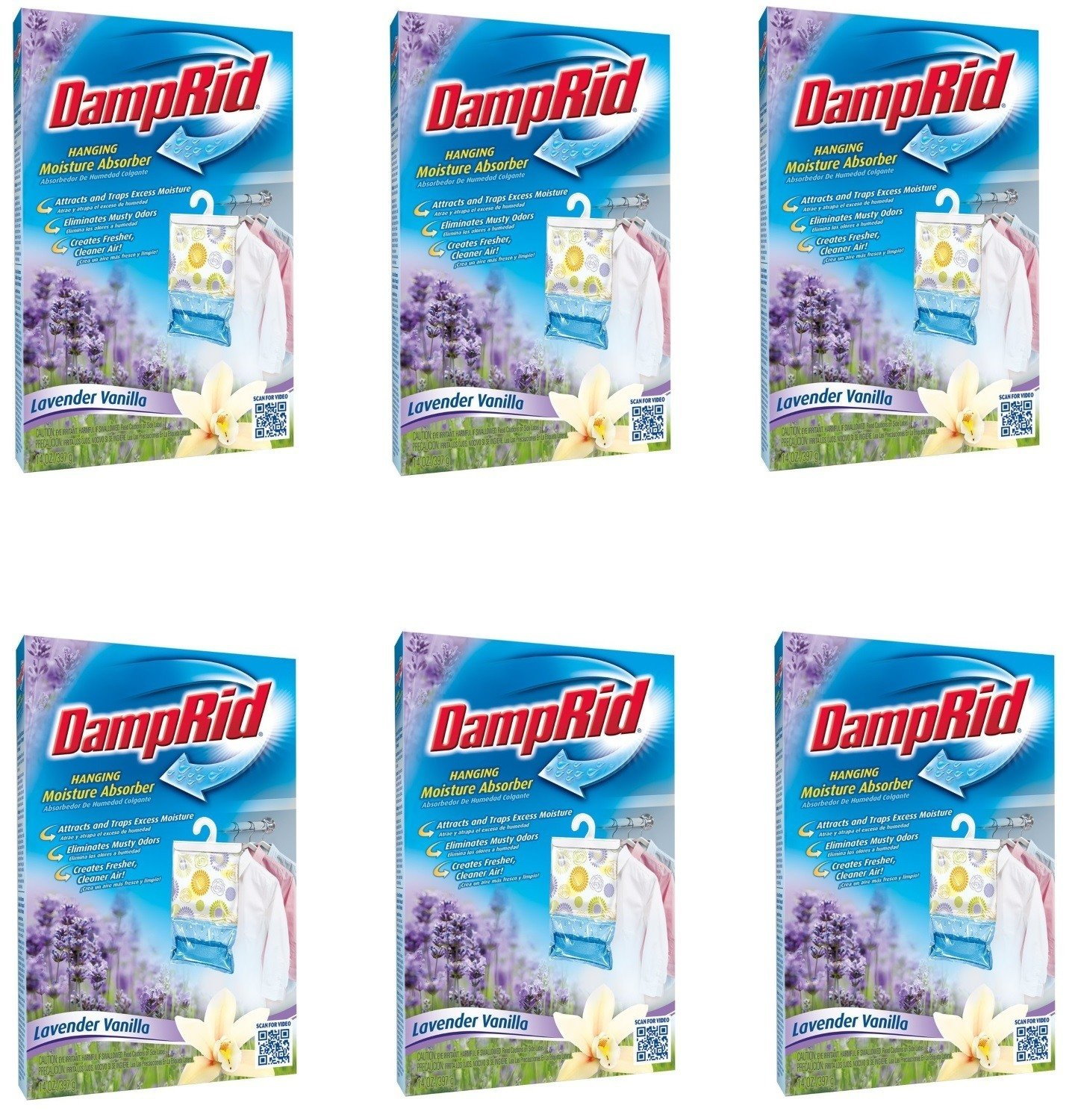 DampRid Hanging Moisture Absorber, Lavender Vanilla Scent (Pack of 6) by WM Barr (Image #1)