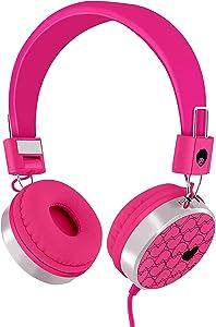RockPapa 878 On Ear Love Hearts Headphones Foldable, Adjustable Headband for Kids Toddler Teens, iPod iPhone iPad Mini iPad Air, Surface Laptop DVD MP3/4 Pink