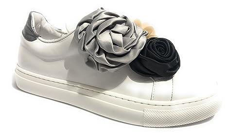 f460f64c83 Hope Scarpe Donna Sneaker SCAMICIATA Pelle Nappa Bianco/Silver con ...