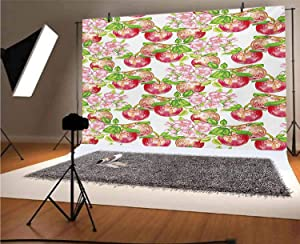 Victorian 12x10 FT Vinyl Photography Background Backdrops,Apple Tree in Summer Time with Flowers Nature Scenery Cultural Artwork Print Background for Photo Backdrop Studio Props Photo Backdrop Wall