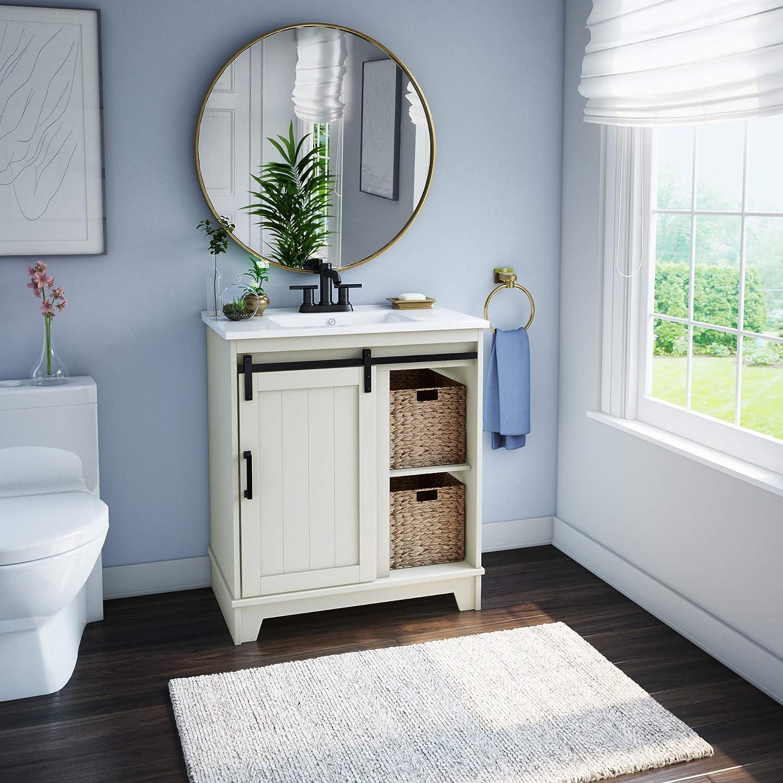 Pamari Cassara 30 Single Bathroom Vanity With Sliding Barn Door And White Sink Home Kitchen