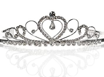 9e6bb132758f99 Amazon.com: SC Bridal Wedding Prom Silver Tiara Crown With Crystal ...