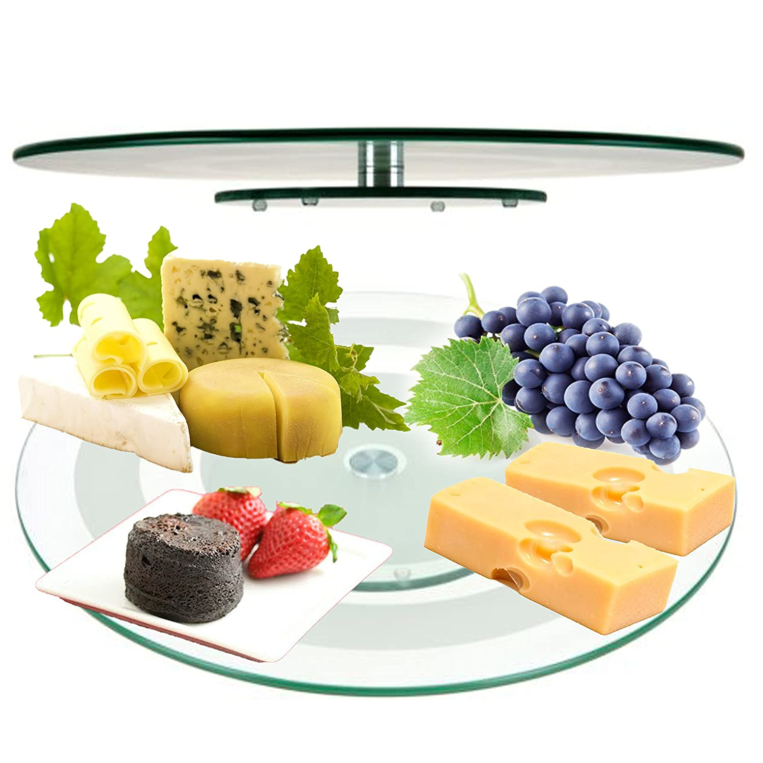 45 cm Glass Lazy Susan Rotating Turntable Serving Plate Cheese Tempered Plate The Magic Toy Shop